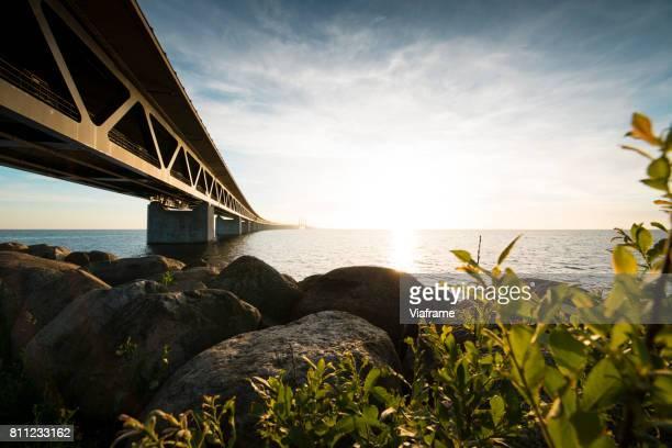 View of Oresund Bridge over Oresund Straight between Denmark and Sweden.