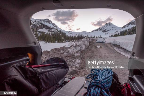 view of organized gear inside vehicle, in mountains - 登山用具 ストックフォトと画像