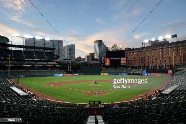 View of Oriole Park at Camden Yards during an Baltimore Orioles Intrasquad game on July 9, 2020 in Baltimore, Maryland.