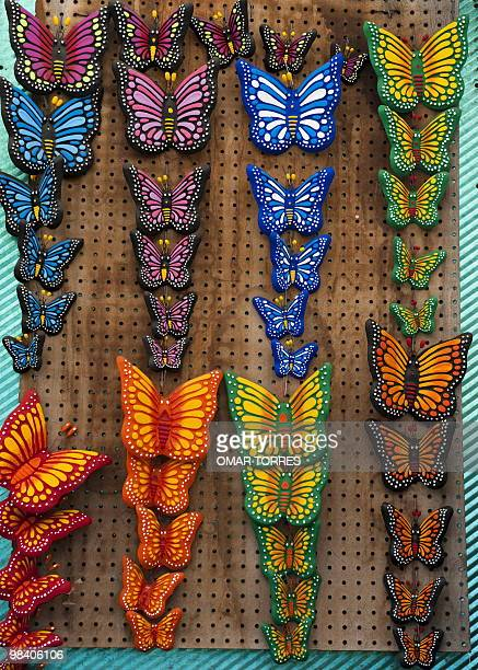View of ornamental ceramic butterflies for sale at the Cuemanco flowers market in Mexico City on March 23 2010 AFP PHOTO/OMAR TORRES