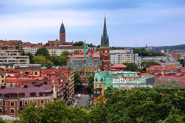 view of oscar fredrik church, masthugget church and the surroundings of olivedal, gothenburg, sweden - gothenburg stock pictures, royalty-free photos & images