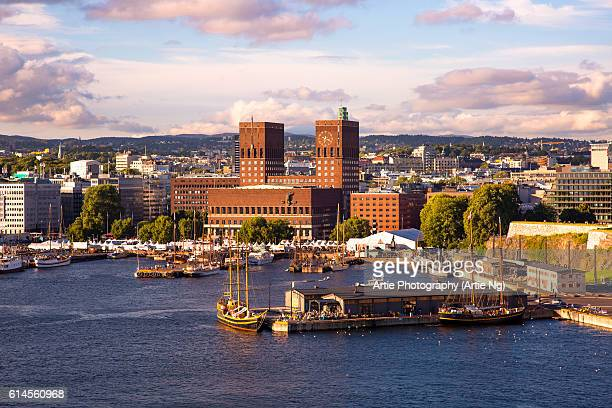 View of Oslo City Hall, Harbourand Skyline, Oslo, Ostlandet, Norway