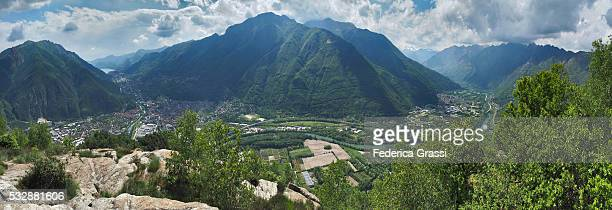view of ossola valley, toce river and orta lake, seen from the top of mount montorfano - province of verbano cusio ossola stock pictures, royalty-free photos & images