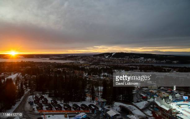 View of Ostersund and Swedish National Biathlon Arena ahead of the Mens 20 km Individual Competition at the BMW IBU World Cup Biathlon Oestersund at...