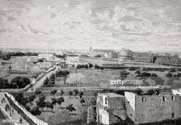 View of Otranto from the Minerva hill, with the castle in the background, Puglia, Italy, drawing by Giuseppe Cosenza, engraving from L'Illustrazione...