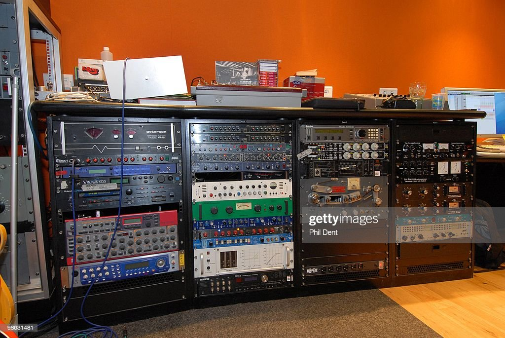 A view of outboard sound processing equipment (compressors, limiters, delays) in the control room at the Paint Factory recording studio on 22nd October 2008 in the United Kingdom.