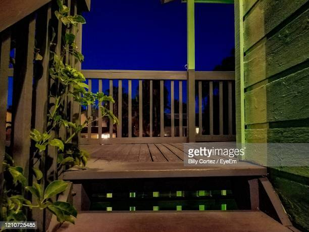 view of outdoor staircase at night - south padre island stock pictures, royalty-free photos & images