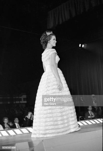 View of outgoing Miss America 1968, Debra Barnes, as she walks the runway at Boardwalk Hall during the Miss America beauty pageant, Atlantic City,...