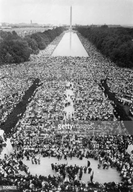 Aerial view of over 200000 people assembled in front of the Washington Monument on Freedom March for civil rights Washington DC