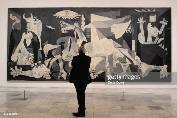 View of Pablo Picasso's Guernica painting during the presentation to members of the press of the exhibition 'Pity and Terror in Picasso The Path to...