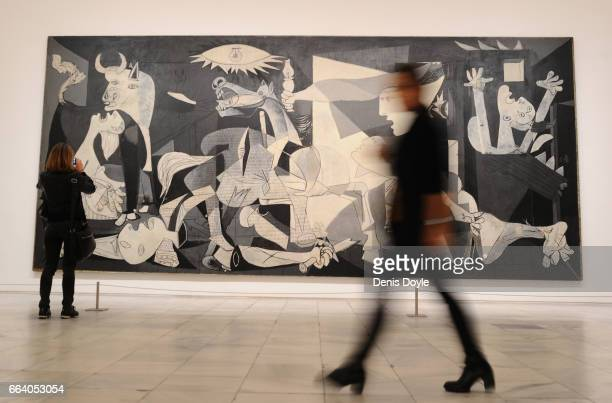 View of Pablo Picasso's Guernica painting during the presentation to members of the press of the exhibition ''Pity and Terror in Picasso The Path to...