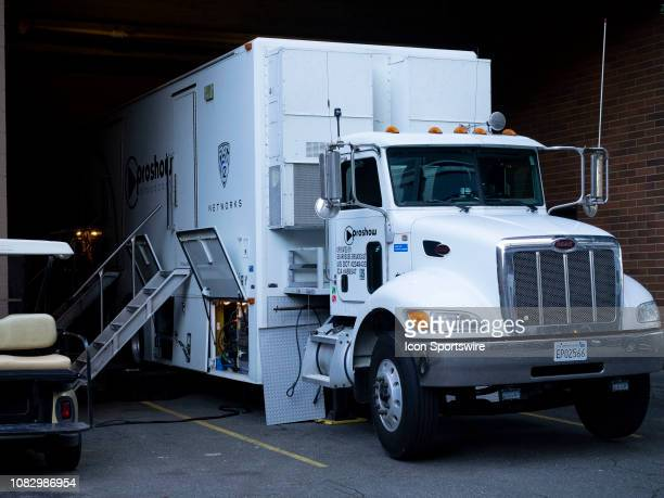 A view of PAC 12 Network broadcast truck before a college basketball game between the Utah Utes against the Washington Huskies on January 13 at...