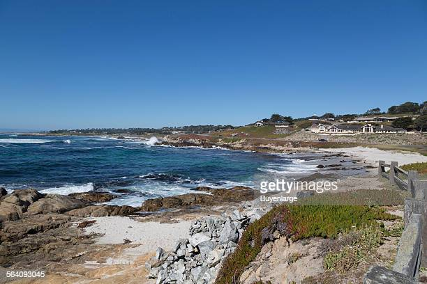 View of Pacific ocean along 17-Mile Drive, a scenic road through Pacific Grove and Pebble Beach on the Monterey Peninsula in California