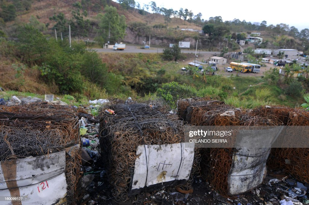 View of packs of iron to be recycled in the northern outskirts of Tegucigalpa, on January 26, 2013. AFP PHOTO / Orlando SIERRA
