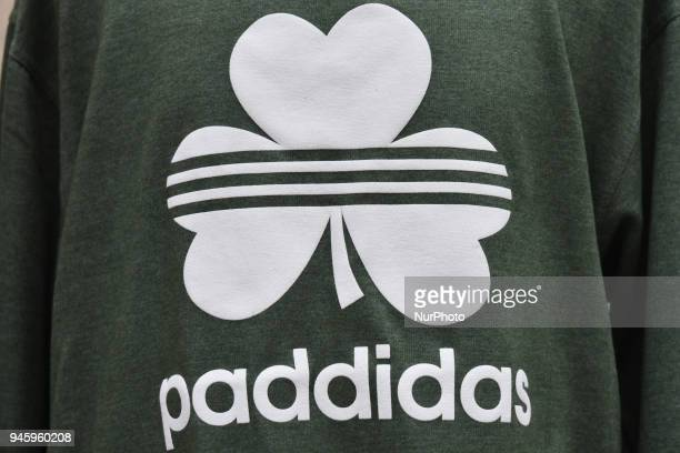 A view of 'paddidas' tshirt in one of many Dublin's City Center tourist shops On Friday April 13 in Dublin Ireland
