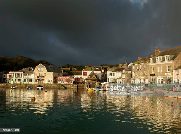 View of Padstow harbor and stormy sky, Cornwall, England