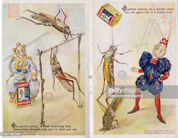 View of pages five and six of 'The Frolie Grasshopper Circus,' a pamphlet that advertises Quaker Oats cereal with pixies and grasshoppers, Chicago,...