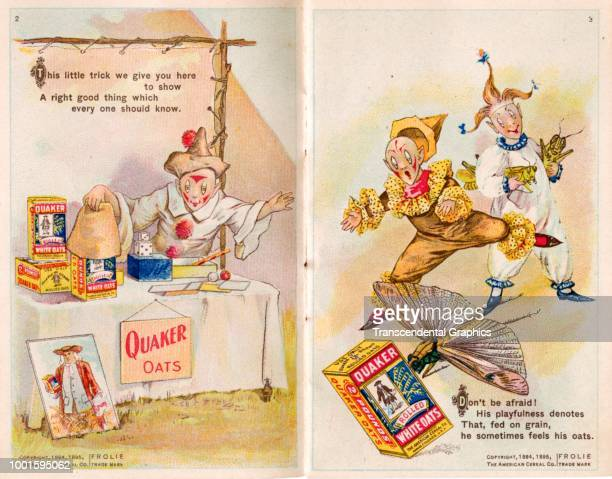 View of pages one and two of 'The Frolie Grasshopper Circus,' a pamphlet that advertises Quaker Oats cereal with pixies and grasshoppers, Chicago,...