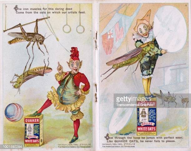 View of pages seven and eight of 'The Frolie Grasshopper Circus,' a pamphlet that advertises Quaker Oats cereal with pixies and grasshoppers,...