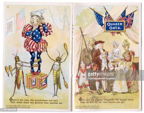 View of pages thirteen and fourteen of 'The Frolie Grasshopper Circus,' a pamphlet that advertises Quaker Oats cereal with pixies and grasshoppers,...