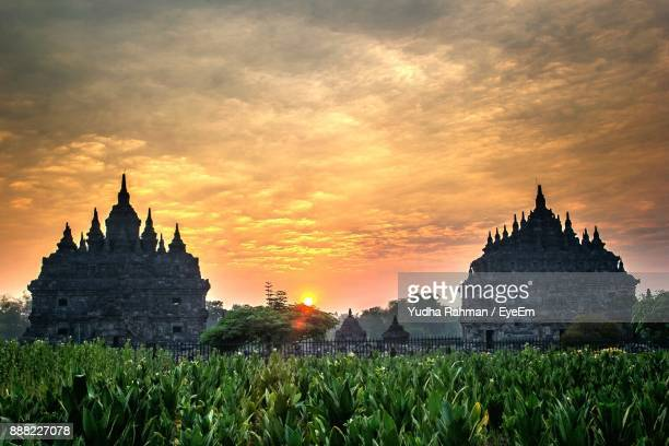view of pagoda against sky during sunset - surakarta stock photos and pictures