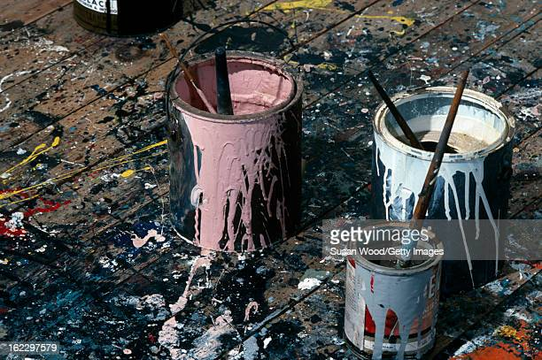 View of paint tins on the floor of the studio of artist Jackson Pollock Springs East Hampton New York April 1 1991