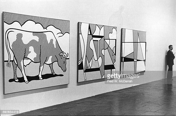 View of paintings in Roy Lichtenstein's exhibition at the Whitney Museum New York New York October 3 1981