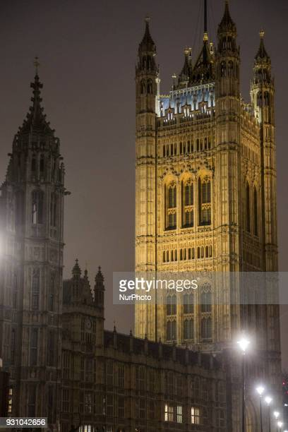 View of Palace of Westminster in London UK on 20 February 2018 Houses of Parliament It hosts the two houses of Parliament of the United Kingdom The...