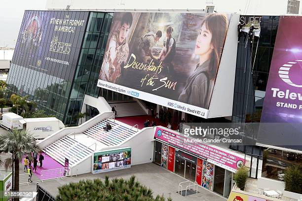 A view of Palais des Festivals during MIP TV 2016 at JW Marriott on April 3 in Cannes France