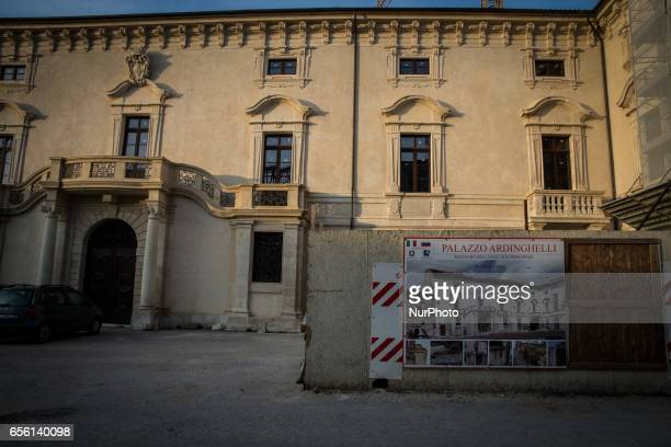 View of Palazzo Ardinghelli rebuilt after the earthquake in L'Aquila, on March 21, 2017. The Eighth anniversary of the L'Aquila earthquake will be...