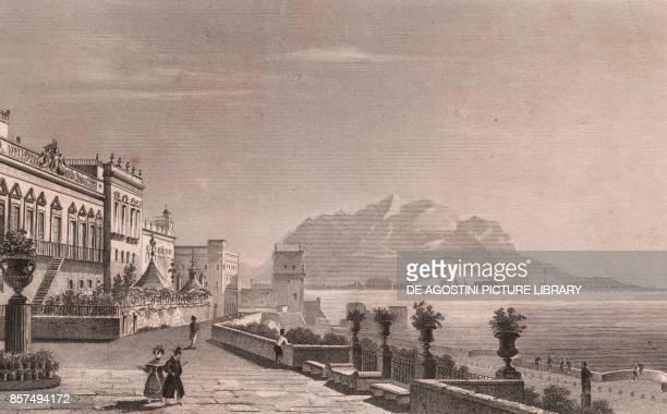 View of Palazzo Butera in Palermo with the Monte Pellegrino in the background Sicily Italy steel engraving ca 19x135 cm from L'Italia la Sicilia le...