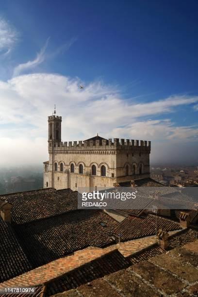 View of Palazzo dei Consoli palace from Giardini del Voltone garden. Gubbio. Umbria. Italy. Europe.