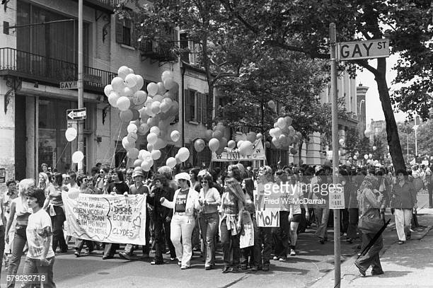 View of paradegoers during the fifth annual Gay Pride Day March at the intersection of Gay and Christopher streets New York New York June 30 1974 The...