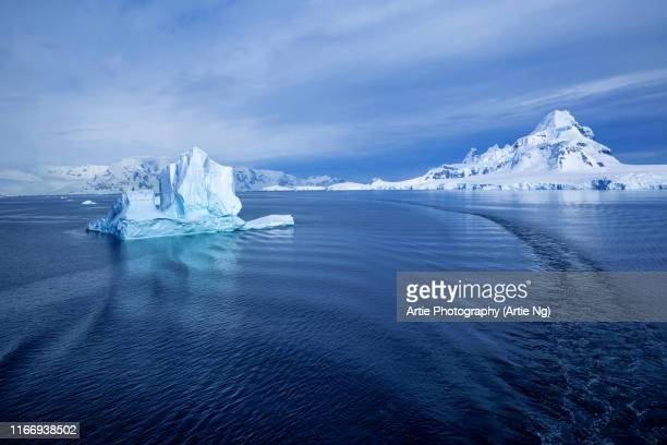 view of paradise harbor with iceberg, antarctica - antarctique photos et images de collection
