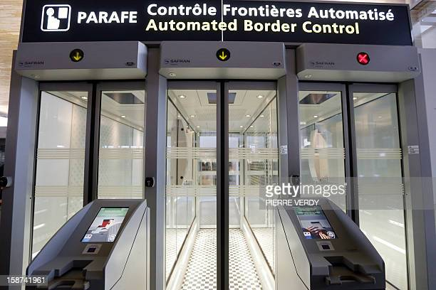View of Parafe an automated border passport control at the RoissyCharles de Gaulle airport near Paris on December 27 2012 AFP PHOTO / PIERRE VERDY