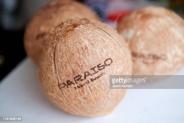 A view of Paraiso branded coconuts as JNSQ Serves Its Rosé Cru And Sauvignon Blanc At The Miami Swim Week Influencer Brunch Hosted By Natasha Oakley...