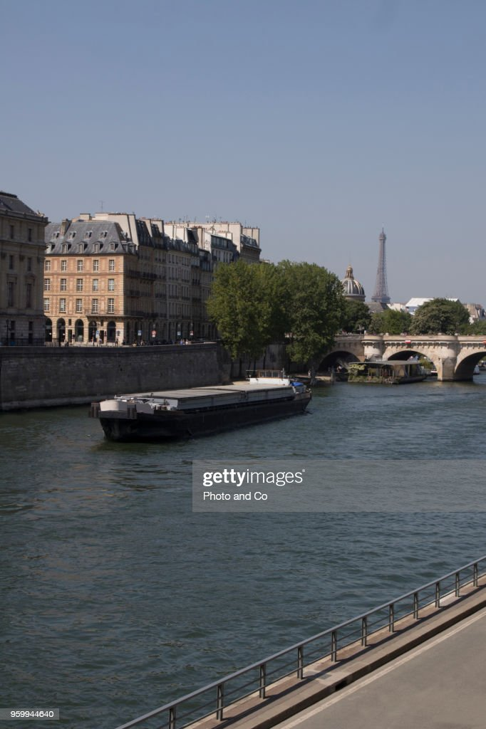 view of paris, barge on the Seine in front of the Pont Neuf : Foto de stock