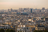 view of Paris during morning with Beaubourg quarter ( France )