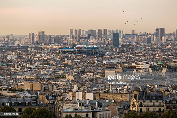 view of paris during morning with beaubourg quarter ( france ) - centre pompidou stock pictures, royalty-free photos & images