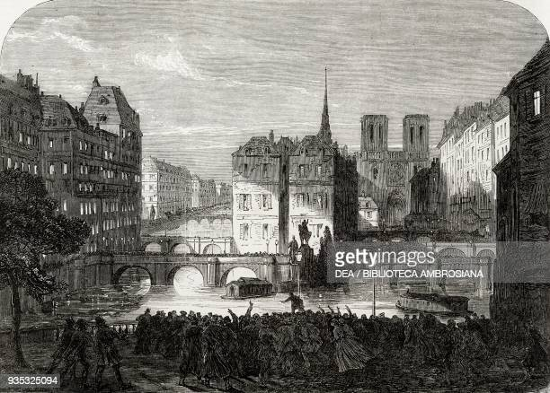 View of Paris France scene from The workman of Paris illustration from the magazine The Illustrated London News volume XLV December 17 1864