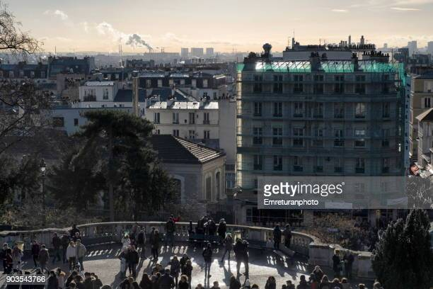 view of paris from the hill in montmartre,paris. - emreturanphoto stock pictures, royalty-free photos & images