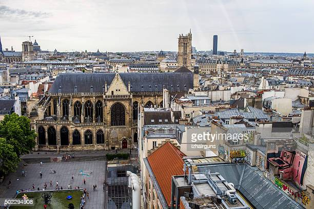 view of paris from the top of center george pompidou - centre georges pompidou stock pictures, royalty-free photos & images