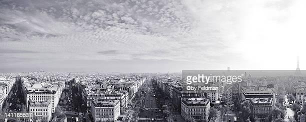 view of paris - paris noir et blanc photos et images de collection