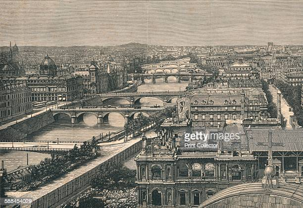 View of Paris Showng The Seven Bridges' 1882 From Cities of the World their origin progress and present aspect by Edwin Hodder