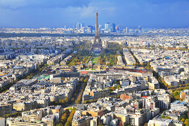 View Of Paris With Eiffel Tower And La Defence Wall Art