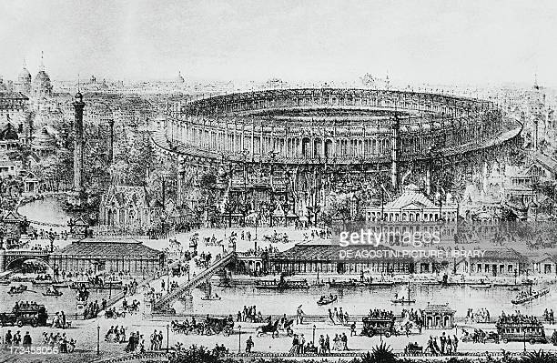 View of Paris with the building for the Universal Exhibition of 1867 design by JeanBaptiste Krantz and Gustave Eiffel engraving France 19th century
