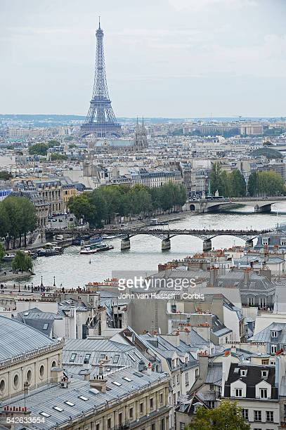 View of Paris with the river Seine the Pont des Arts and the Eiffel Tower taken from the freestanding Tour SaintJacques in the heart of Paris The...