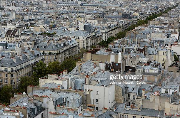 View of Paris with the tree lined Boulevard de Sebastopol taken from the freestanding Tour SaintJacques in the heart of Paris The tower is all that...