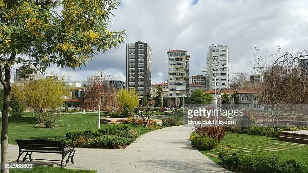 view of park against sky - contemporary istanbul foto e immagini stock
