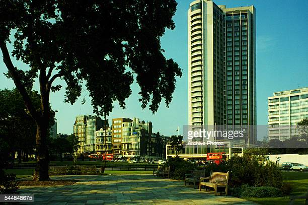 A view of Park Lane and the London Hilton on Park Lane Hotel London circa 1960